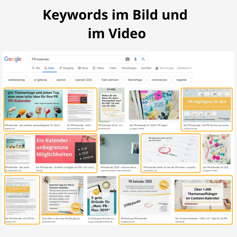 Keywords in Bild und Video