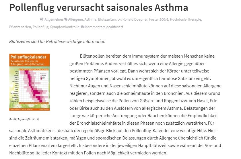 Beispiel Griffige Headline für Pressemitteilungen Pollenflug