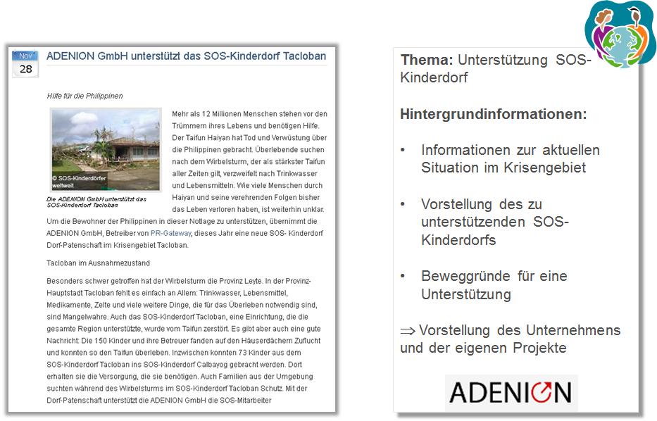 Pressemitteilung ADENION GmbH SOS Kinderdörfer