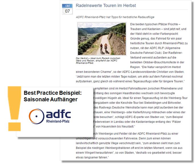 Herbst PR Pressemitteilung des ADFC mit Radeltouren Tipps für den Herbst
