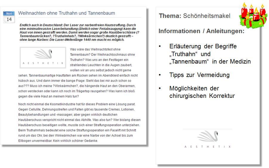 Weihnachts PR Pressemitteilung Aesthetix mit Erklärung zu Truthahn und Tannenbaum in der Schönheitschirurgie