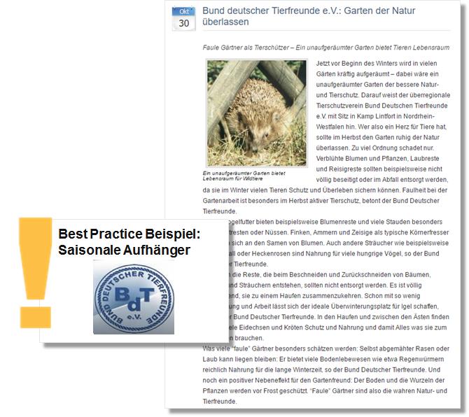 Pressemitteilung Bund deutscher Tierfreunde mit Garten- und Tierschutz Tipps für den Herbst