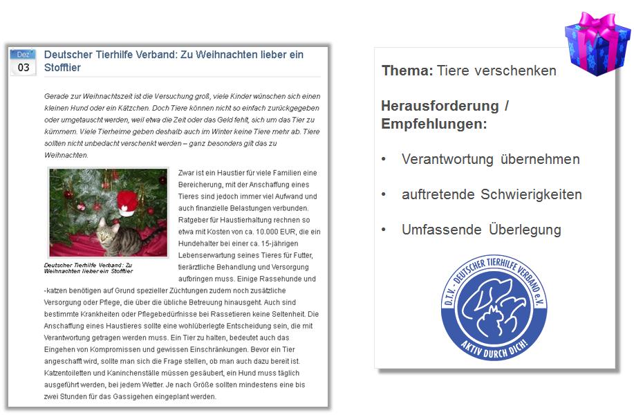 Pressemitteilung Deutsche Tierhilfeverband rät Keine Tiere als Weihnachtsgeschenk