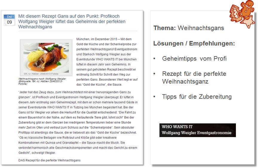 Weihnachts PR Pressemitteilung Eventgastronom Wolfgang Weigler mit Tipps für die perfekte Weihnachtsgans