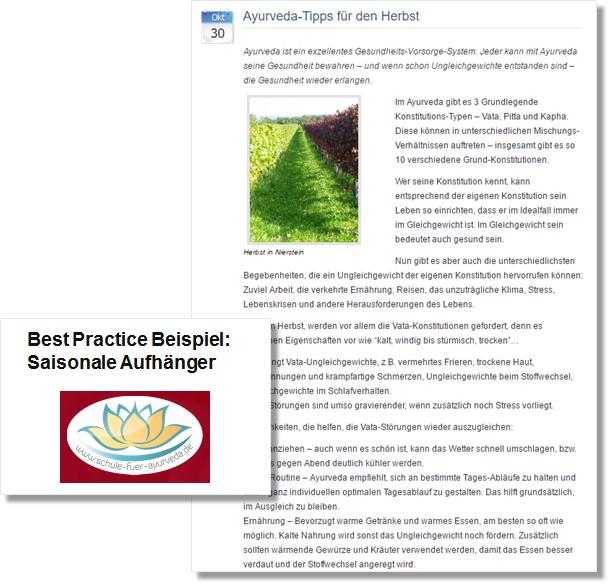Pressemitteilung der Schule für Ayurveda mit Gesundheitstips für den Herbst