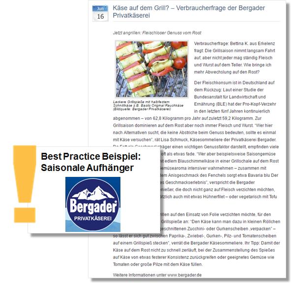Sommer PR Pressemitteilung Bergader beantwortet Fragen zum Käse auf dem Grill