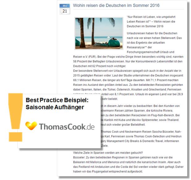 Sommer PR Pressemitteilung Thomas Cook mit Tipps zu Reisezielen der aktuellen Sommersaison