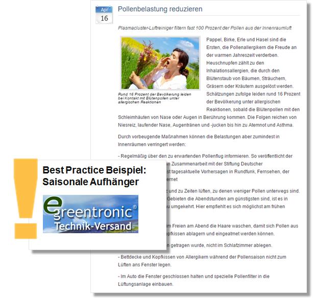 Pressemitteilung Sommer PR greentronic mit Tipps zur Reduzierung der Pollenbelastung