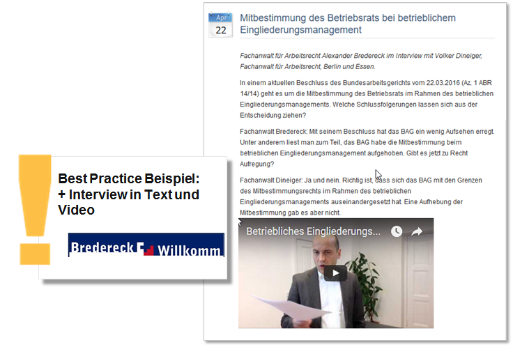 Beispiel Rechtsanwälte Bredereck & Willkomm Interview in Text und Video