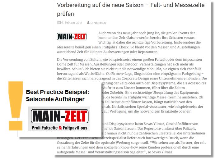 Pressemitteilung Sommer PR Main-Zelt mitTipps zur Prüfung von Falt und Messezelten für die neue Saison