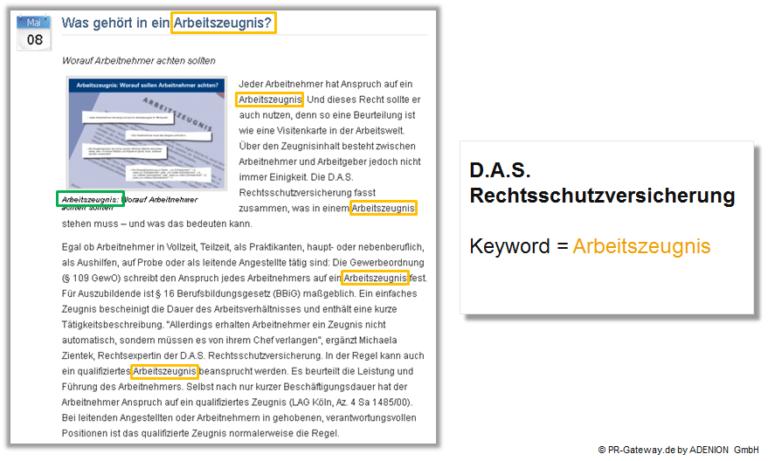 Pressemitteilung Keyword Optimierung