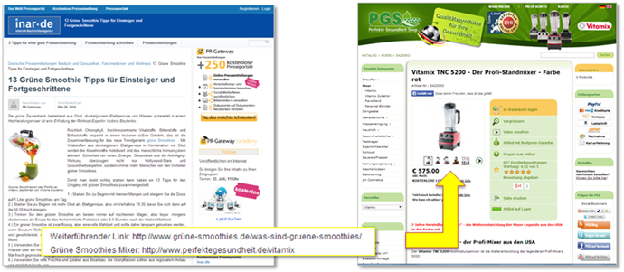 Beispiel Online Pressemitteilung Deeplinks und Landingpages_Gesundheitsshop
