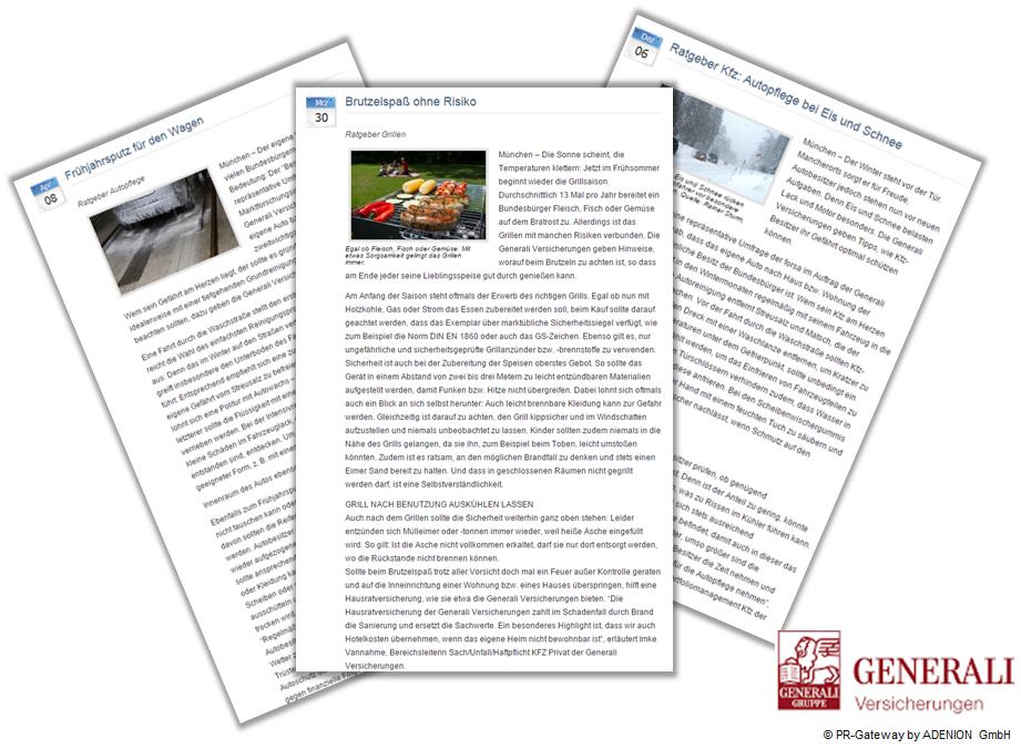 Beispiel Online Pressemitteilungen Generali Saisonale Ratgeber