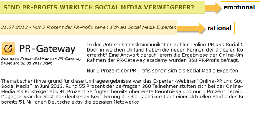 Online Pressemitteilungen Headline emotional Subline rational