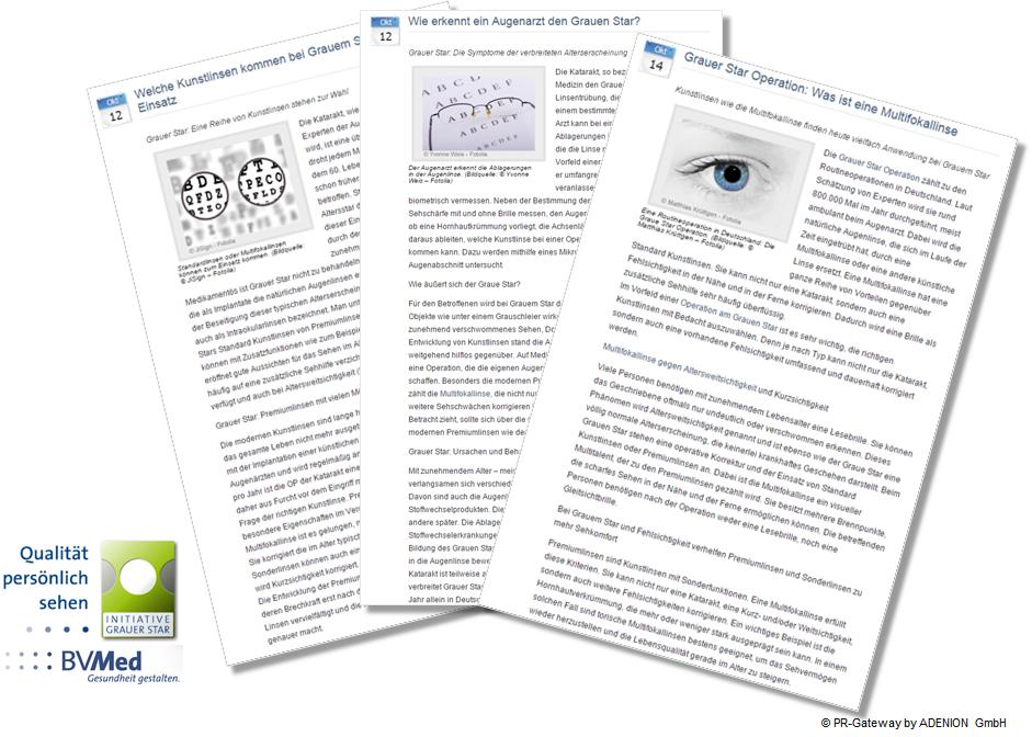Verschiedene Inhalte von Online-Pressemitteilungen am Beispiel BVMed