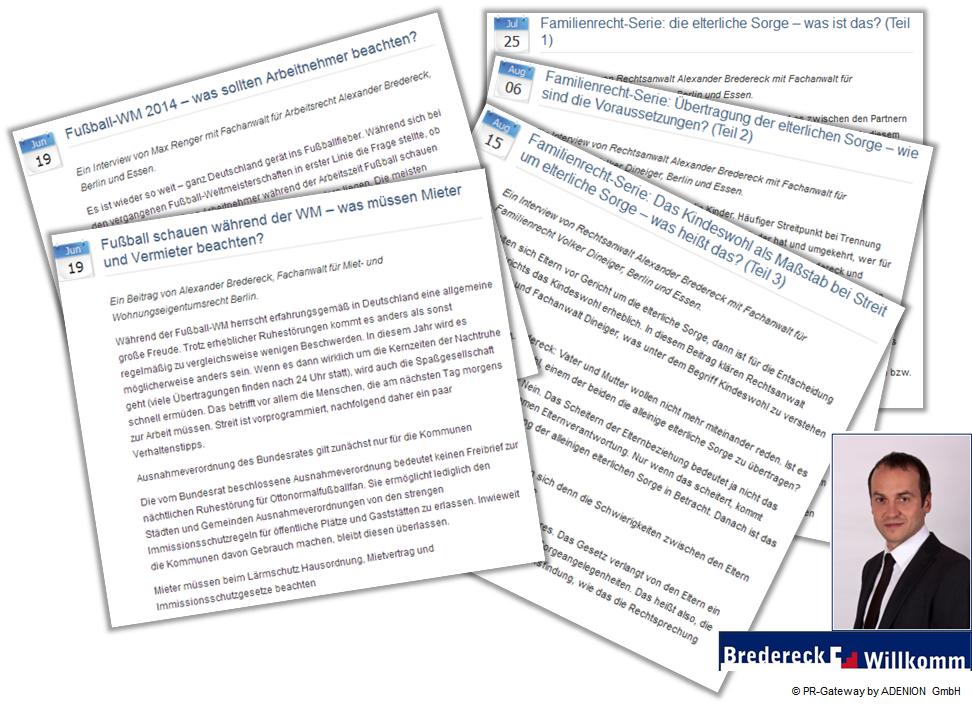 Verschiedene Inhalte von Online-Pressemitteilungen am Beispiel Bredereck & Willkomm