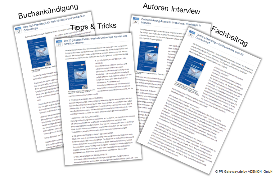 Verschiedene Inhalte von Online Pressemitteilungen am Beispiel Praxium Verlag