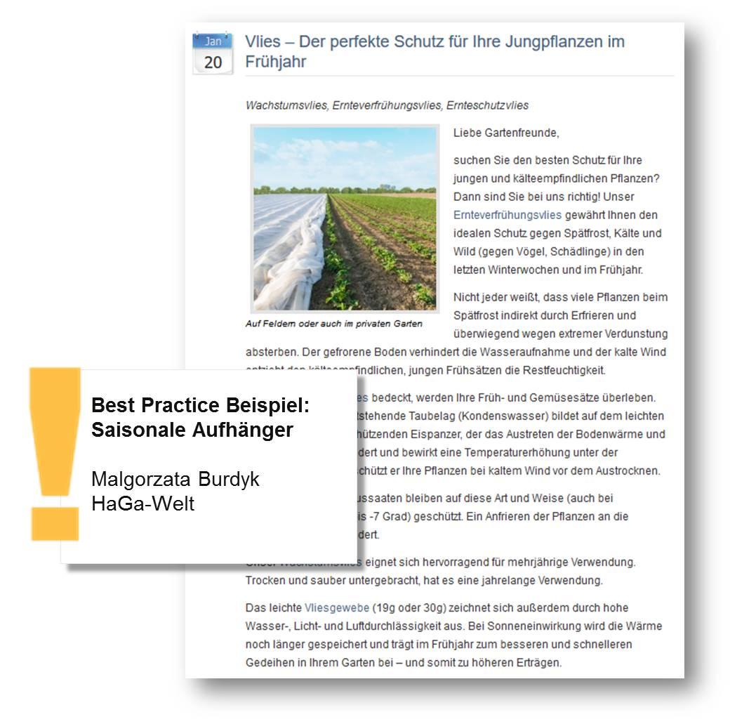 Pressemitteilung von HaGa-Welt gibt Tipp für den perfekten Schulz Ihrer Jungpflanzen