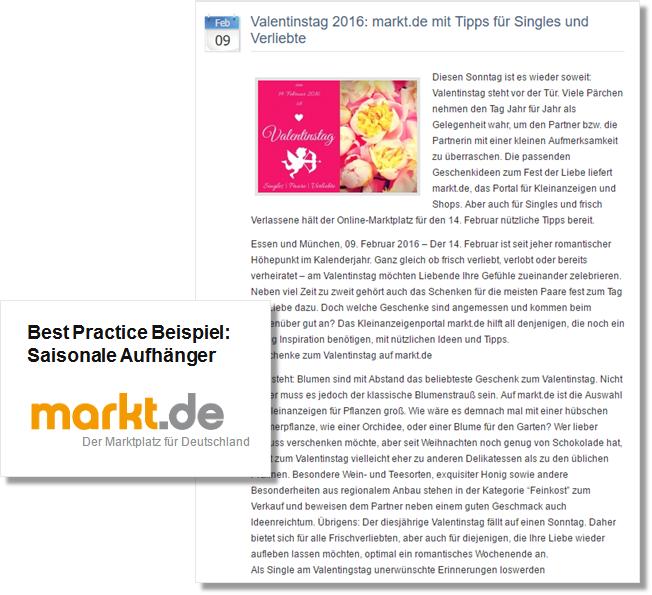 Beispiel Pressemitteilung_markt.de_Valentinstag_Tipps für Singles und Verliebte