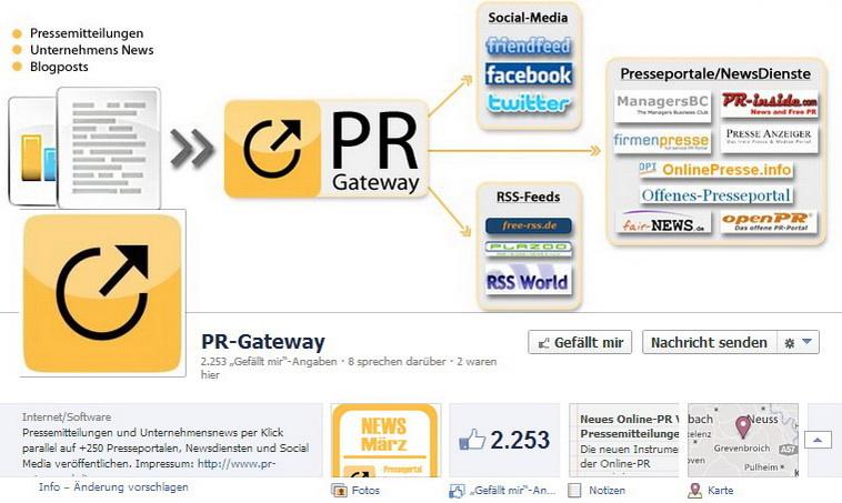 Facebook Fanseite von PR-Gateway