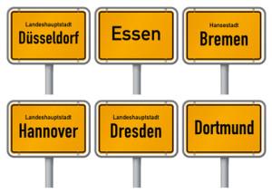 Ortsschilder großer Städte in Deutschland 2