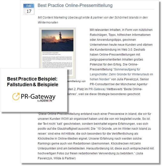 Pressemitteilung PR-Gateway zu Best Practice Beispiel