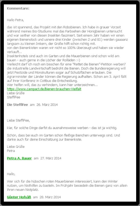 """Beispiel-Kommentare aus dem Blog """"Bauerngartenfee"""""""
