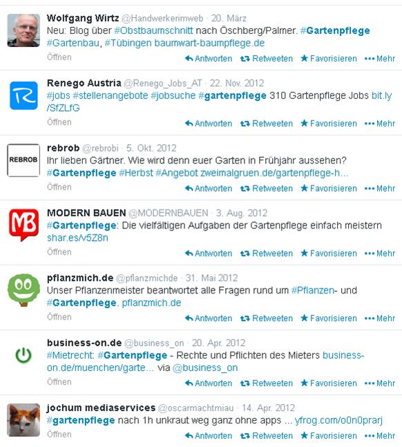 Twitter Suche nach dem Hashtag #gartenpflege