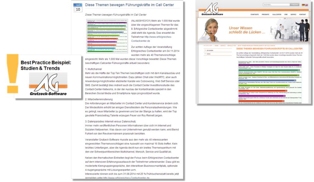 Pressemitteilung der Grutzeck Software GmbH mit einer Umfrage zu den Trends in der Callcenter-Branche  - B2B Branchenbeispiel