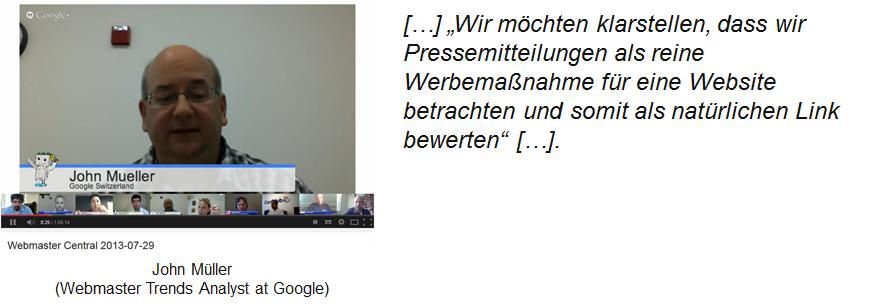 John Müller über Links in Pressemitteilungen