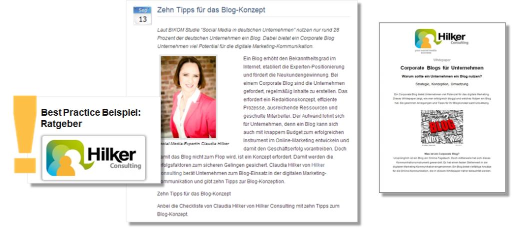 Pressemitteilung und Whitepaper von Claudia Hilker mit Tipps für die Einwicklung eines Blog-Konzeptes für die B2B Kommunikation