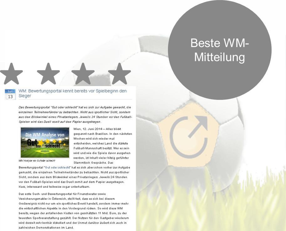 """Die Sieger ist gewählt: Den Titel """"Beste WM-Pressemitteilung 2014"""" trägt eine Meldung von dem Bewertungsportal Gut oder schlecht."""