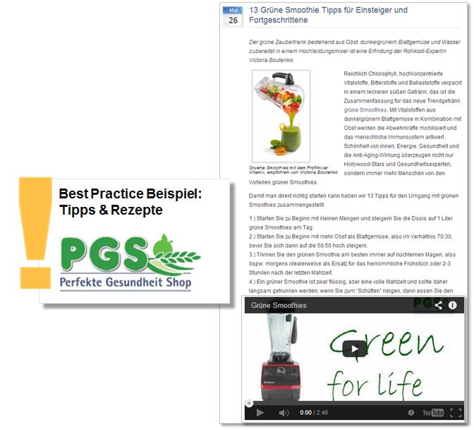 Online-Pressemitteilung Perfekte Gesundheit Shop mit Bild und Video