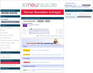 Homepage der Open Newsletter Community neuraus.de