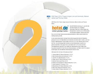 WM-Pressemitteilung von hotel.de belegt Platz 2 im Wettbewerb.