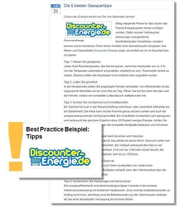 Beispiel: Die Online-Pressemitteilung von DiscounterEnergie liefert nützliche Gasspartipps