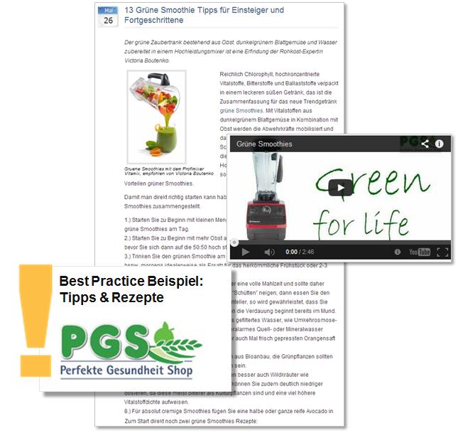 Beispiel Online-Pressemitteilung des PerfekteGesundheit.de Shops mit Tipps und Rezepten für Grüne Smoothies