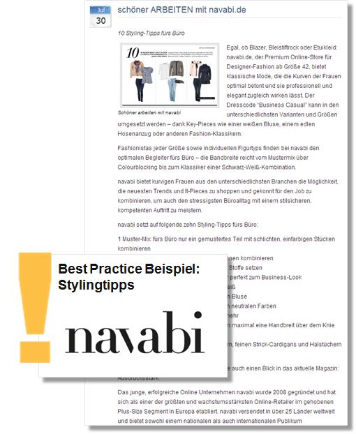 Beispiel: Die Online-Pressemitteilung des Mode Shops Navabi lockt mit praktischen Styling Tipps fürs Büro