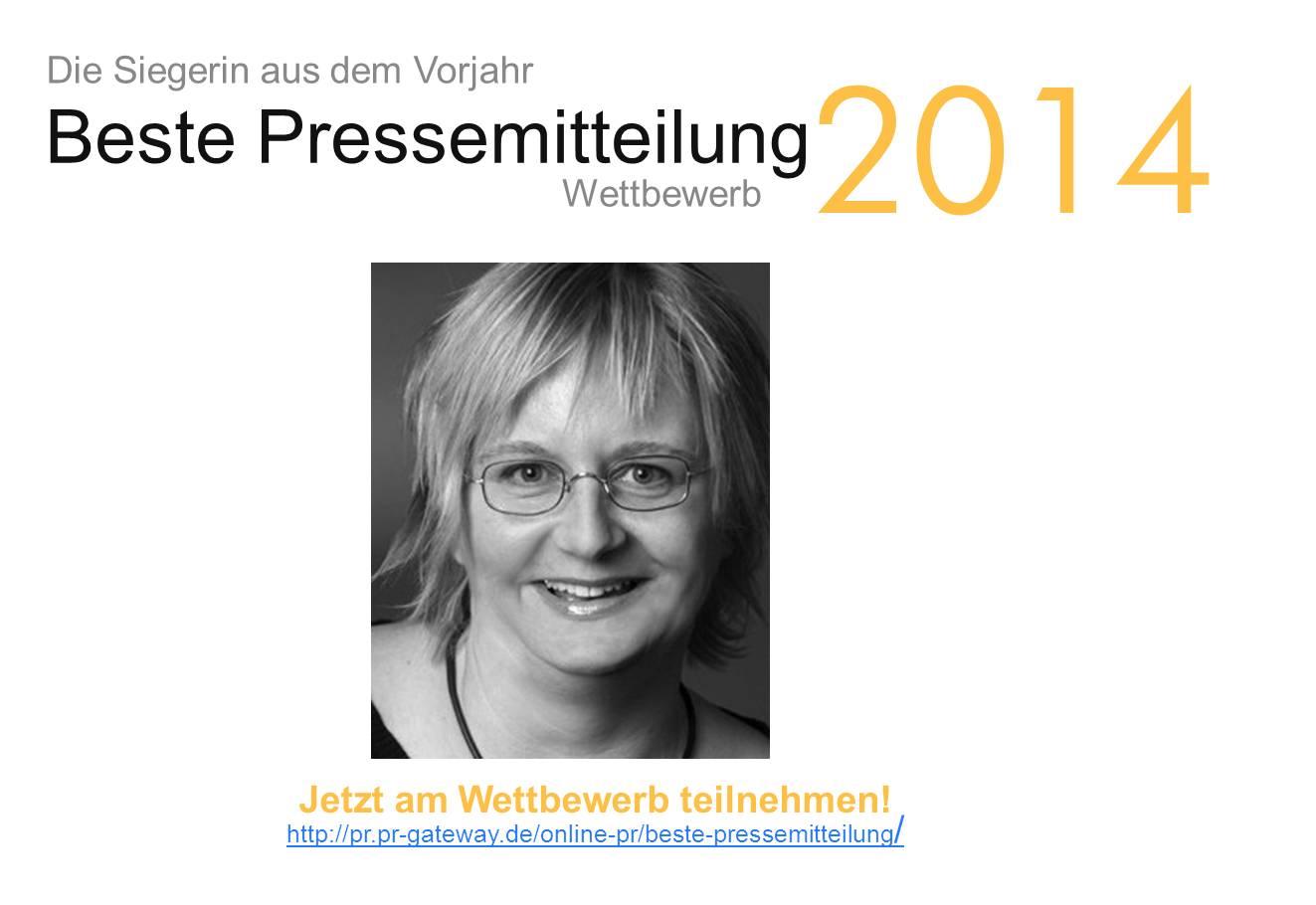 """Die Siegerin des Wettbewerbs """"Beste Online-Pressemitteilung 2014"""""""