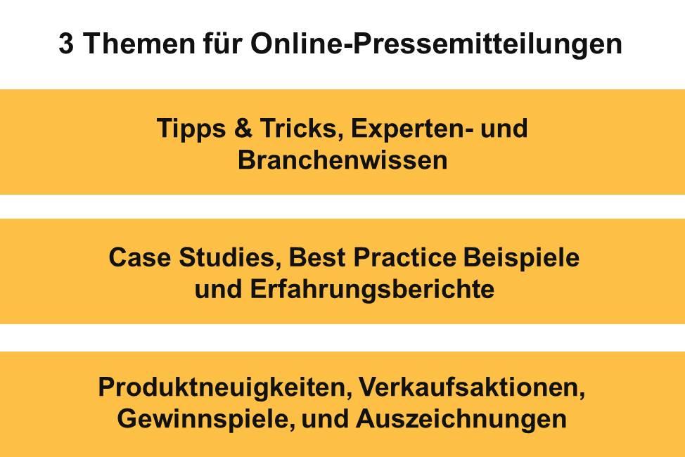 3 Themen für Online-Pressemitteilungen