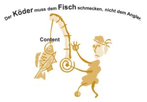 Content Marketing Sinnbild: Der Angler, der Köder und der Fisch