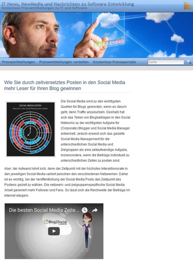 Beispiel Online Pressemitteilung mit Bild und Video