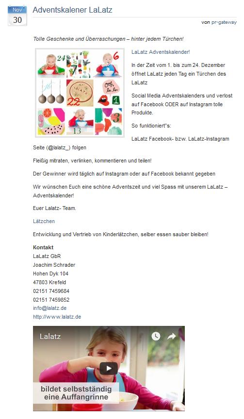 Beispiel Advendskalendar Lalatz Bilder und Videos in Online Pressemitteilungen: Beispiel Advendskalendar Lalatz
