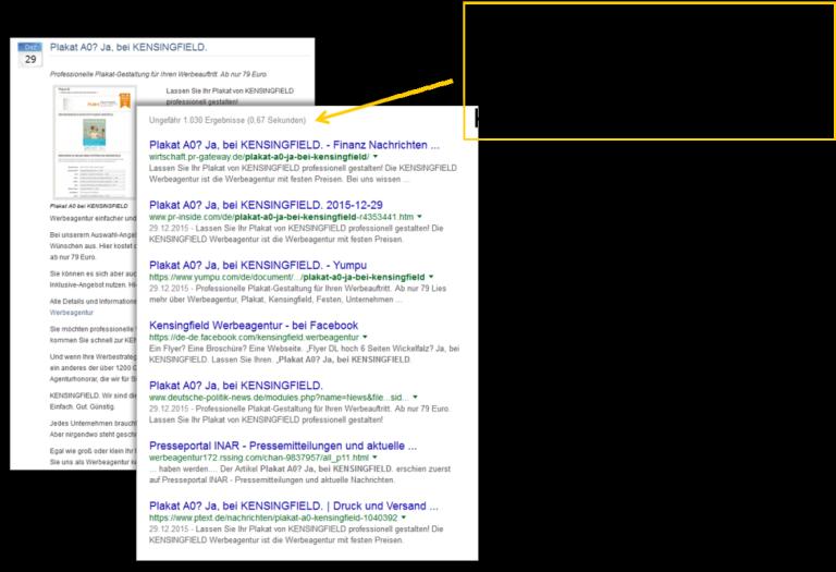 Fundstellen in Suchmaschinen durch Online Pressemitteilungen