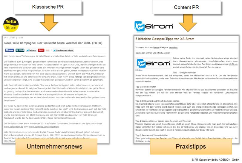 Online-PR Pressemitteilung Vergleich: Bei der Unternehmensnews steht die Kampagne des Unternehmens im Vordergrund, bei der Content Kommunikation nützliche Tipps für Verbraucher.