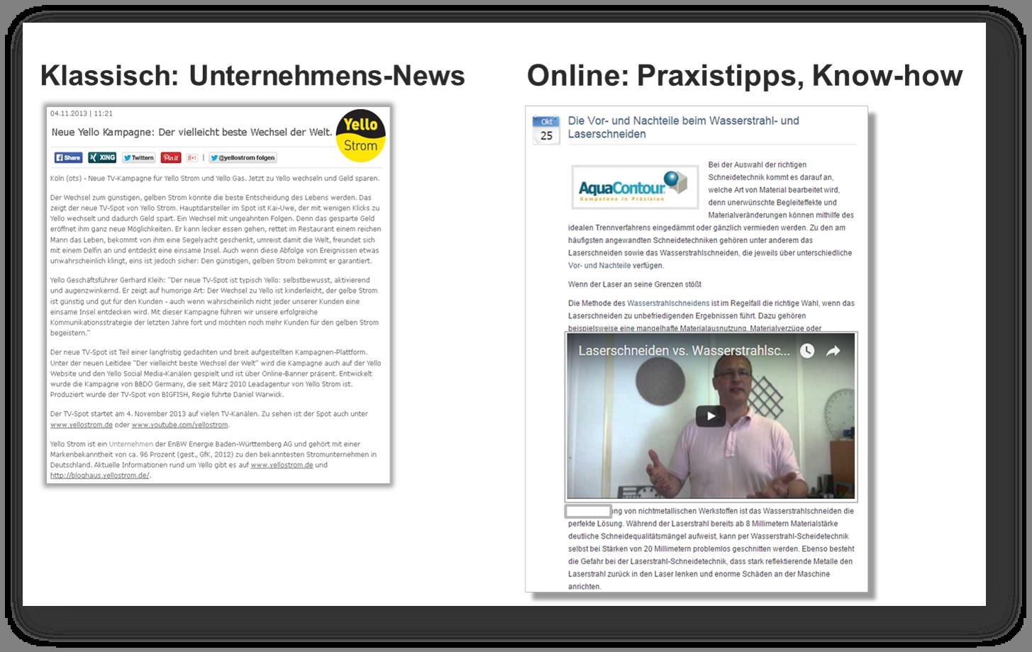 Online Pressemitteilungen glänzen mit Inhalt