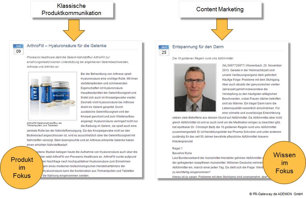 Online-PR Pressemitteilung Vergleich: Bei der klassischen Produktkommunikation steht das Produkt im Vordergrund und bei der Content Kommunikation steht das Wissen im Vordergrund.