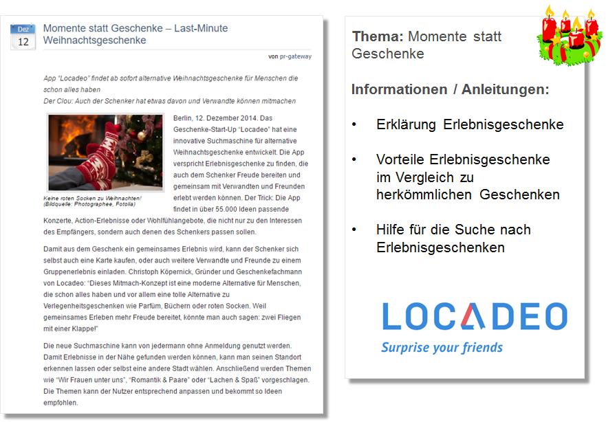 Pressemitteilung Locadeo mit Tipps für Erlebnisgeschenke zu Weihnachten