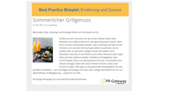 Deutsche Fruchtsaft Industrie: Sommerlicher Grillgenuss