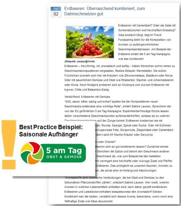Pressemitteilung von 5 am Tag e.V. zu Erdbeeren
